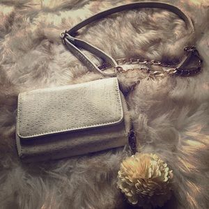 Cross body wallet purse white snakeskin leather